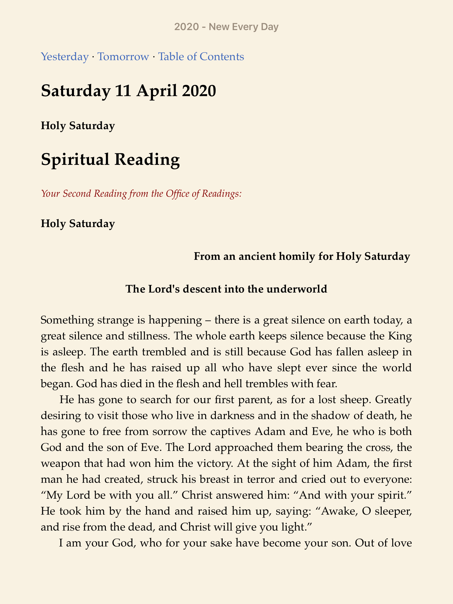 Sample page from Holy Saturday
